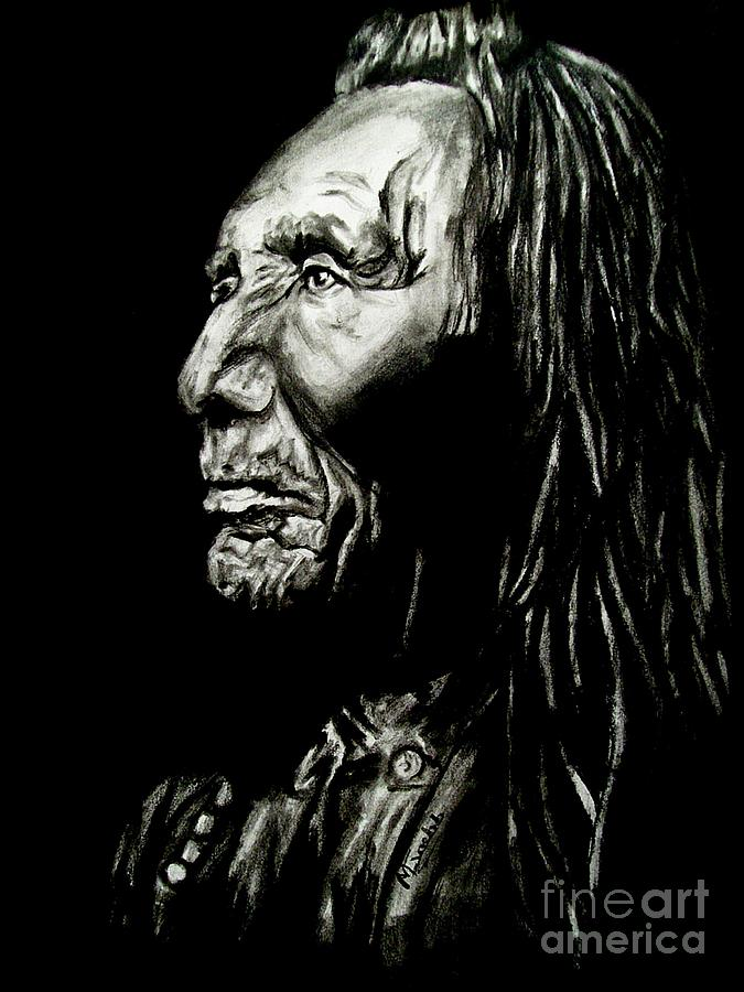 Indian Warrior Drawing by Michael Grubb