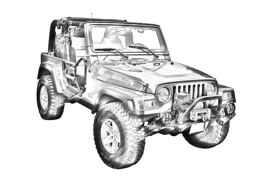 Jeep Wrangler Rubicon Illustration by Keith Webber Jr