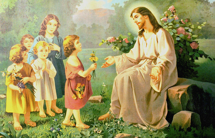 Jesus And The Little Children Digital Art By Unknown