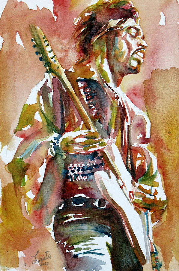 Jimi Hendrix Playing The Guitar Portrait3 Painting by