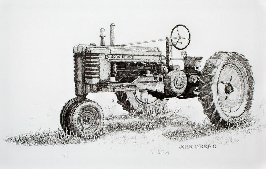 John Deere Awaiting Restoration Drawing by Scott Alcorn