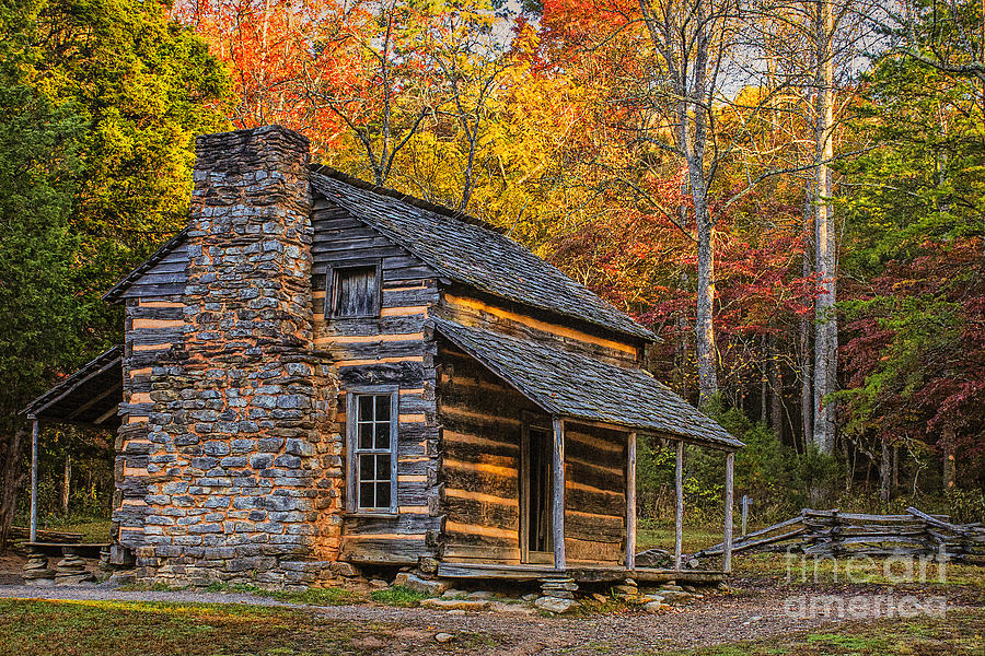 Great Smoky Mountains Fall Iphone Wallpaper John Oliver S Cabin In Great Smoky Mountains Photograph By