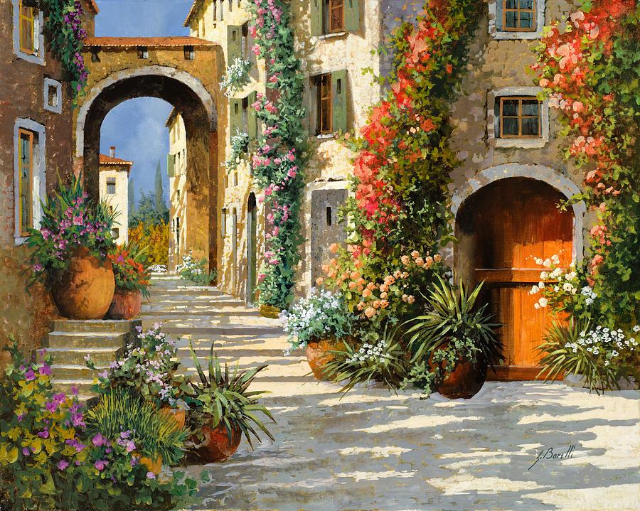 La Porta Rossa Sulla Salita Painting by Guido Borelli