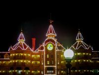 Lamp Post In Front Of The Disneyland Hotel Photograph by
