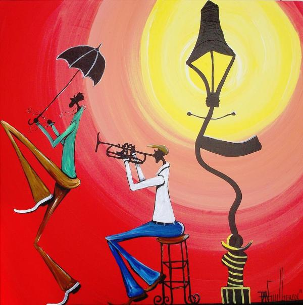 Lamppost Jazz Painting Guilbeaux