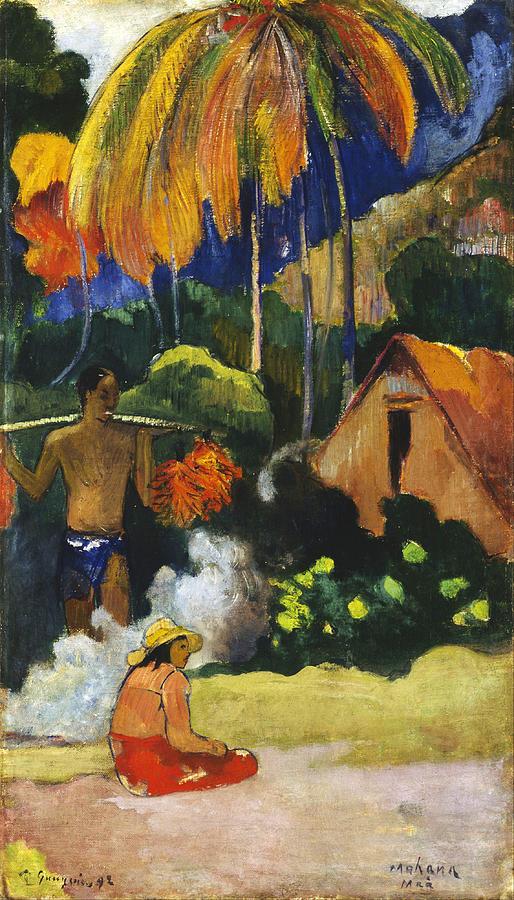 Landscape In Tahiti.mahana Maa Painting by Paul Gauguin
