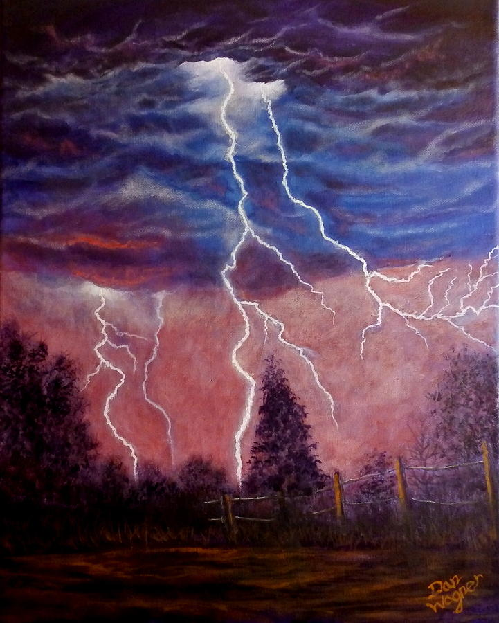 Lightning And Thunder Storm Painting By Dan Wagner