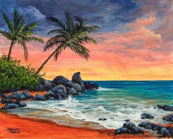 makena beach sunset painting