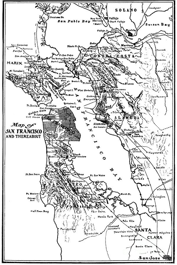 Map Of San Francisco Bay And There About Circa 1905