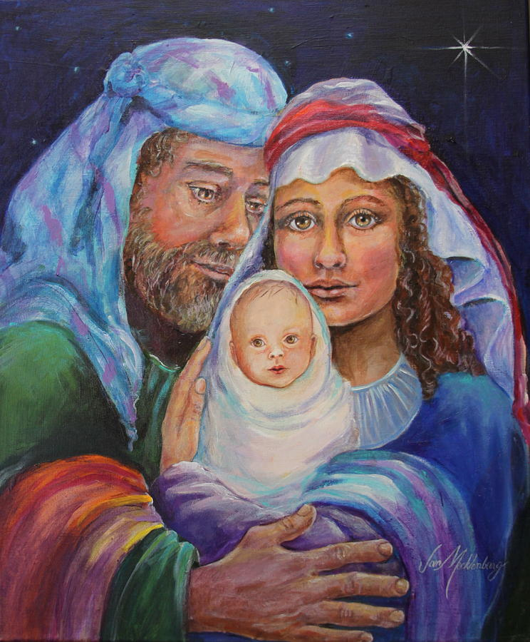 Mary With Joseph And Baby Jesus Painting By Jan Mecklenburg