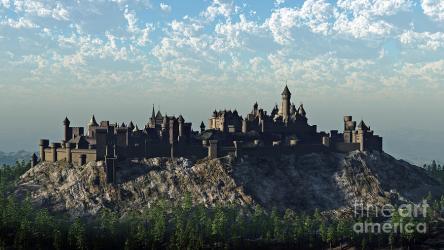 Medieval Hilltop Castle Digital Art by Fairy Fantasies