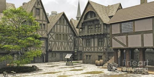 medieval fantasy town marketplace fairy centre drawing digital fantasies village building square rpg castle artwork markets uploaded piece march which