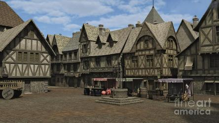 medieval town square fantasies fairy fantasy digital market place artwork 13th uploaded piece february which