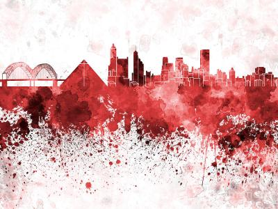 Memphis Skyline In Red Watercolor On White Background ...