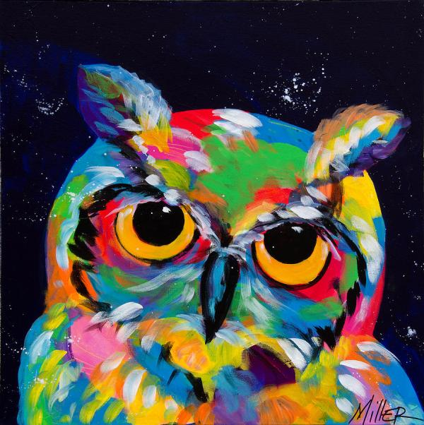 Colorful Watercolor Owl Painting