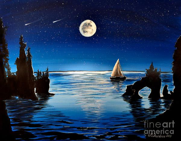 Moonlight Sailing By Hopewell Rocks Painting by Patricia L