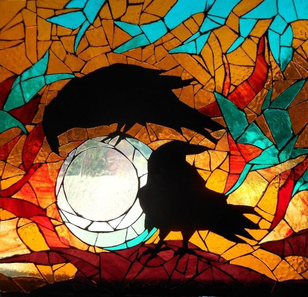 Mosaic Stained Glass-crows Glass Art Catherine Van Der
