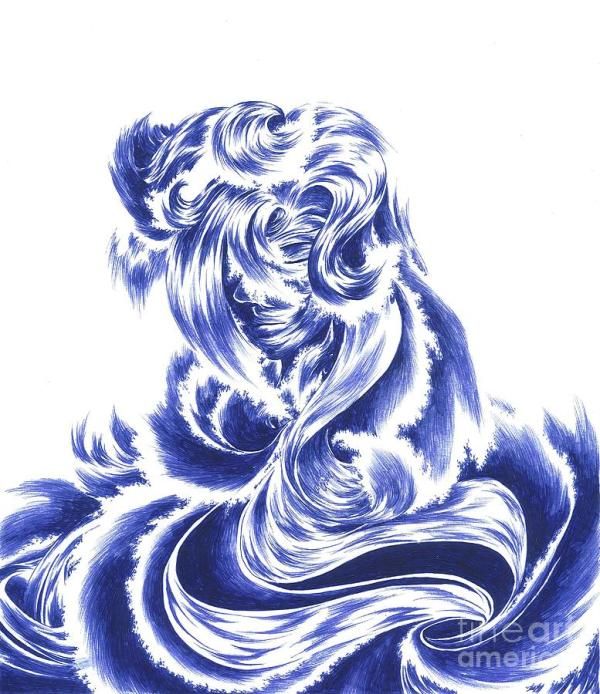 Mother Nature Face Of The Sea Drawing by Alice Chen