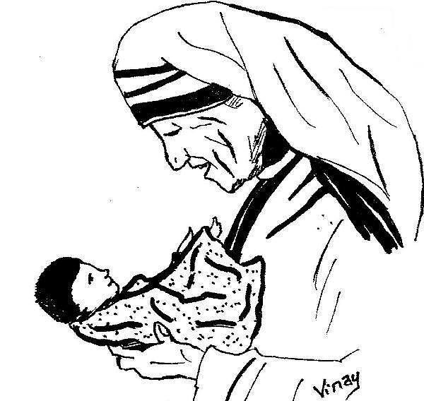 Mother Teresa Drawing by Vinay Jalla