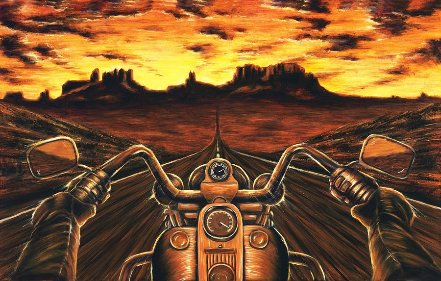 Chargers Iphone Wallpaper Motorcycle Sunset Painting By Travis Knight