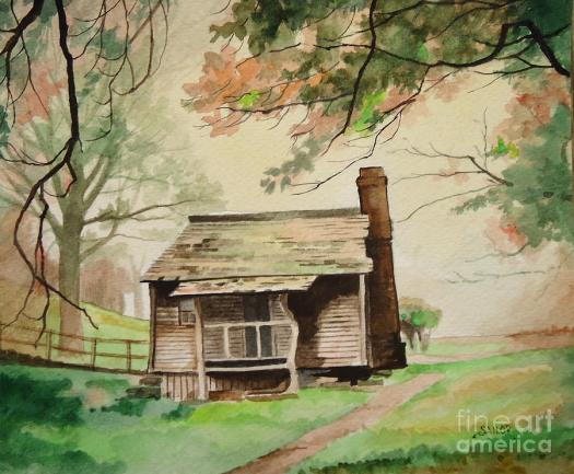 Cabin Painting My Old Kentucky Home By Barbara Sailor