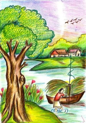 drawing scenery nature easy drawings natural aparna colourful colour draw contest pencil simple class india sketches paintings morning shading hope