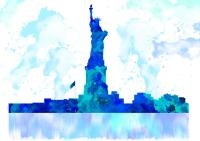 New York Blue Skyline Watercolor Painting Painting by ...