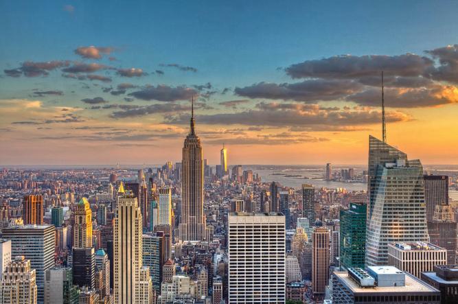 New York Skyline Sunset by Basic Elements Photography