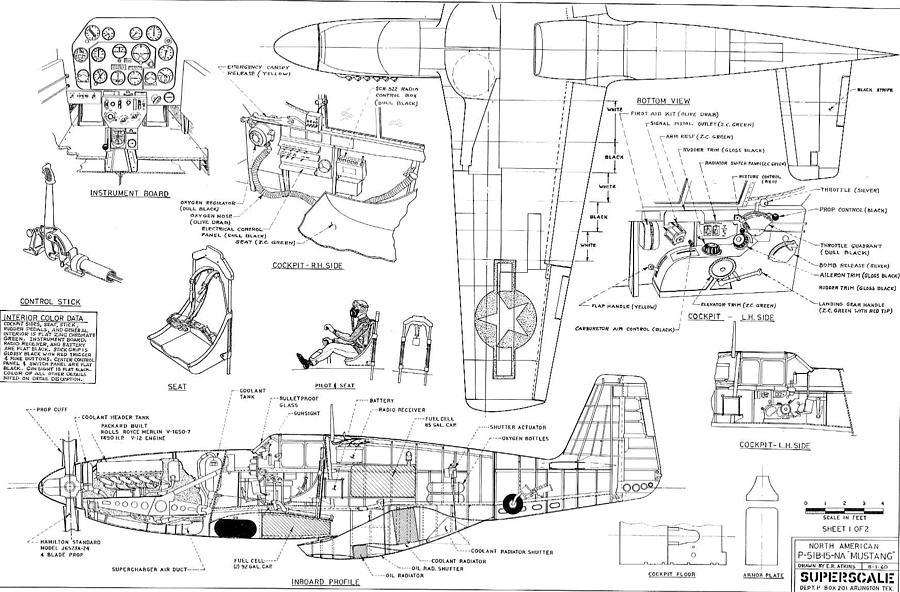 North American Mustang P51-b Schematic Diagram Photograph