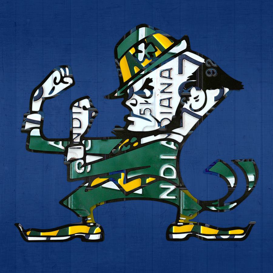 Notre Dame Fighting Irish Leprechaun Vintage Indiana License Plate