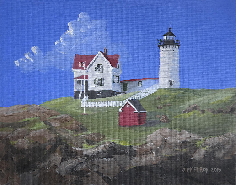 Nubble Lighthouse Painting by Jerry McElroy