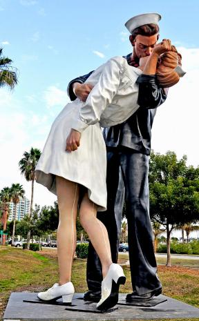 Vertical Photograph - Nurse And Sailor Kissing Statue Unconditional Surrender Daytime  by Sally Rockefeller