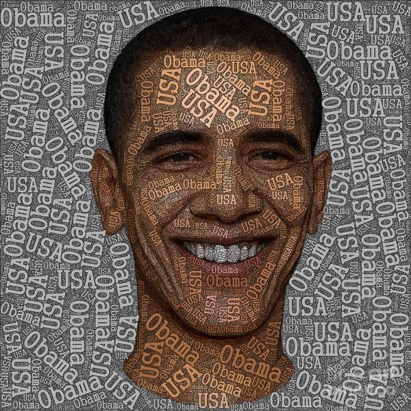 Obama Typography Text Art Painting Boon Mee
