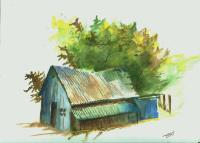 Old Blue Tool Shed Painting by David Patrick