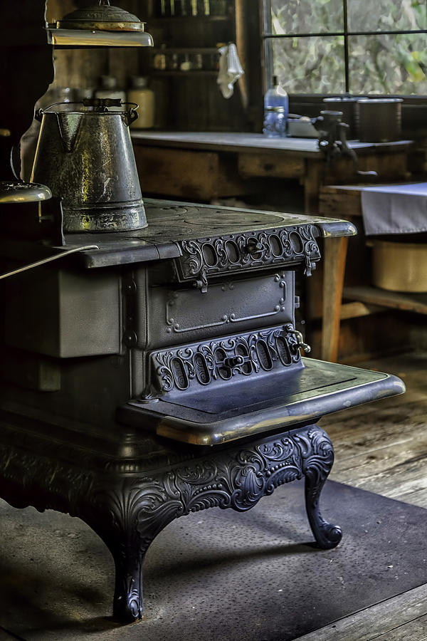 Old Farm Kitchen And Wood Burning Stove Photograph by Lynn