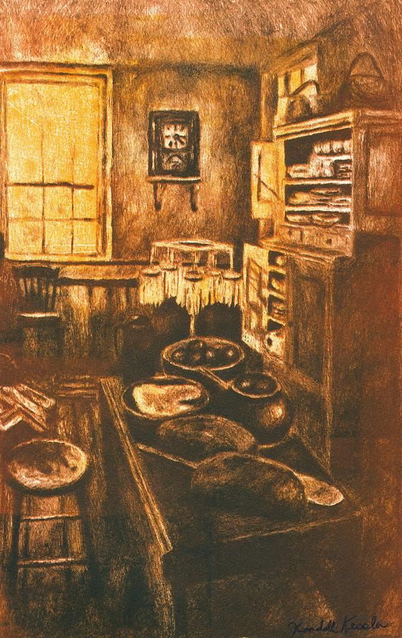 Old Fashioned Kitchen Again Drawing by Kendall Kessler