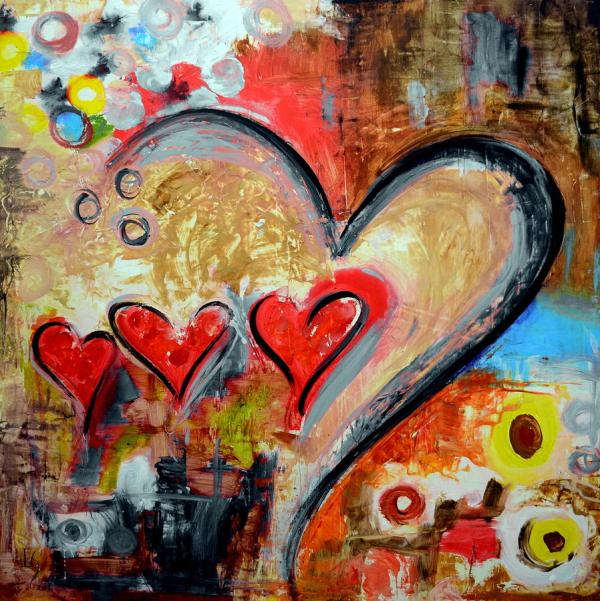 Heart Love Abstract Art Painting