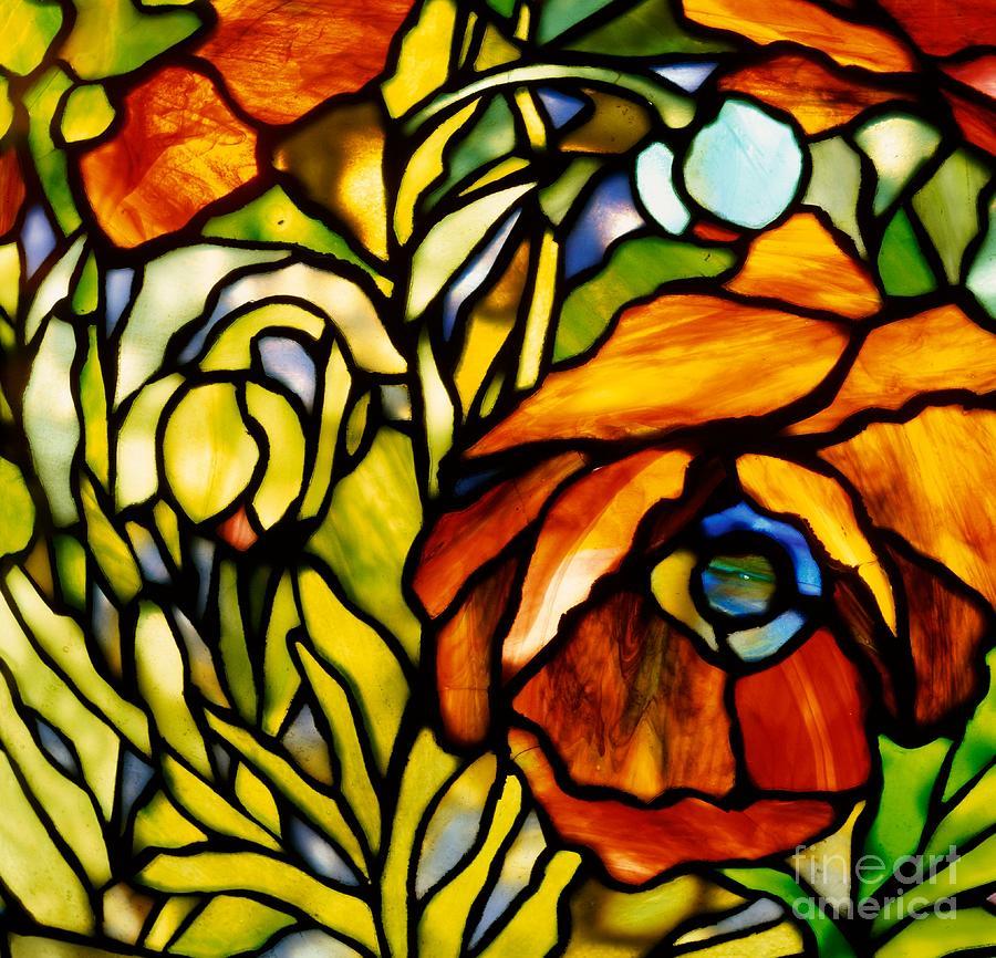 Oriental Poppy Glass Art by Tiffany Studios