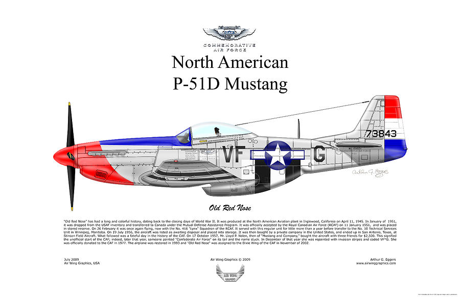 P-51d Mustang Old Red Nose Digital Art by Arthur Eggers