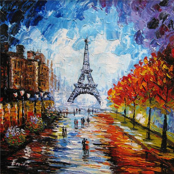 Palette Knife Painting Paris Eiffel Tower Enxu Zhou