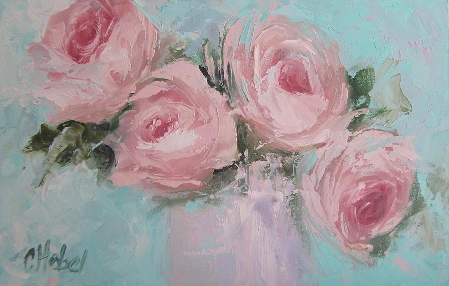 pastel pink roses painting