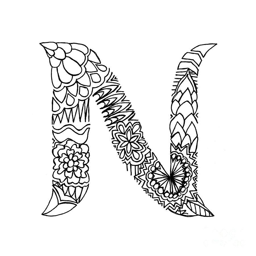 Patterned Letter N Drawing by Alyssa Zeldenrust