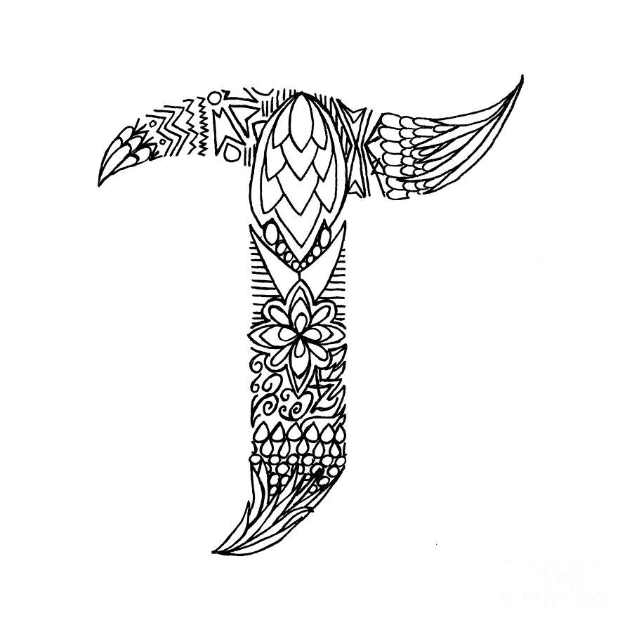 Patterned Letter T Drawing by Alyssa Zeldenrust