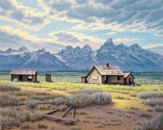 Landscape Painting Pfeiffer Homestead Tetons By Paul Krapf