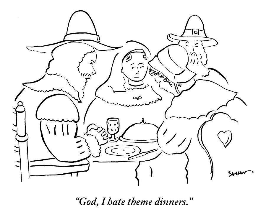 Pilgrims At Thanksgiving Dinner Table Drawing by Michael Shaw