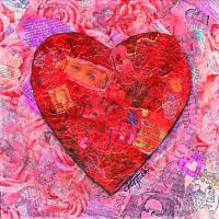 Pink And Red Heart Collage Mixed Media by GG Burns