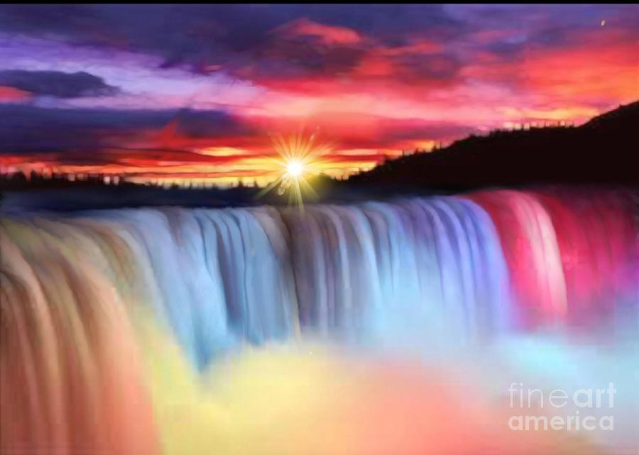 Niagara Falls At Night Wallpaper Rainbow Waterfall Painting By Belinda Threeths