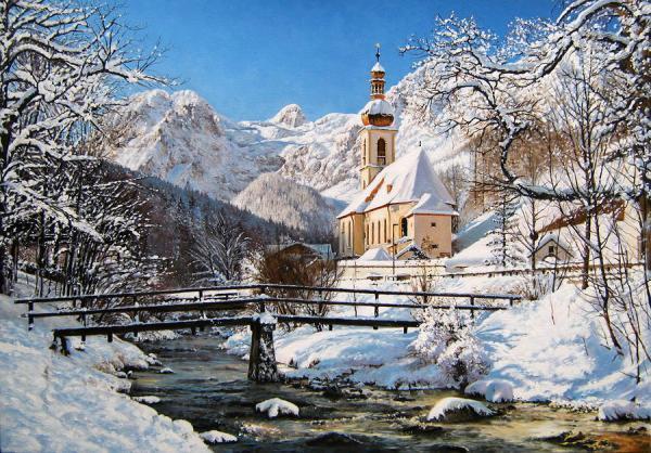 ramsau church in winter painting