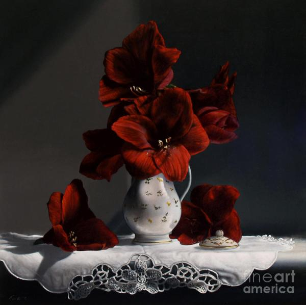 Red Amaryllis Painting