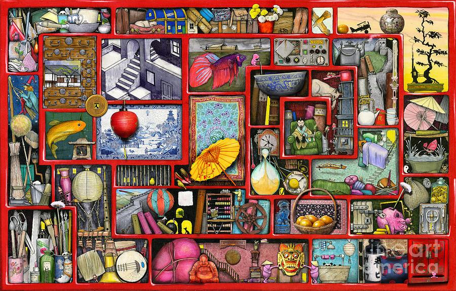 Iphone Christmas Shelf Wallpaper Red Box Digital Art By Colin Thompson